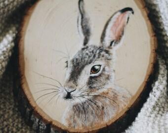 Woodcut Hare Portrait