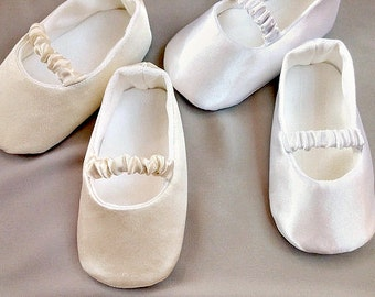 White Or Ivory Baby Ballet Slippers, Christening Shoes, Ivory Or White Ballerina  Flats,