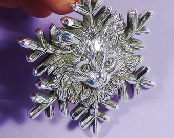 Silver Maine Coon Kitten Snowflake Ornament,Cat Christmas Ornament,Sterling Silver Cat Lover Ornament,Cat Collectible Ornament,Cat Snowflake