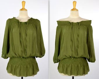 Elegant Off Shoulder Tunic Top, Shirring Elastic Blouse, Ruched Collar Tunic Top, Ruched Waist Top, Olive, One Size (Fits S to XL)
