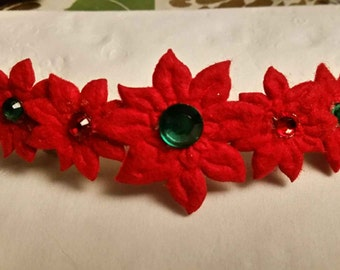 Holiday Poinsettia Barrette with Red and Green Gems