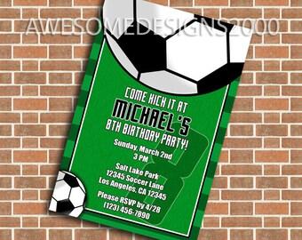 Soccer Invitations - Futbol Sports Birthday Party Invite - Printable & Shipped