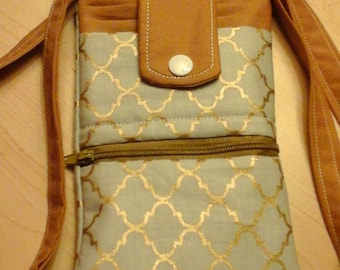 Gold and Grey Cell Phone Purse, Crossbody Strap,