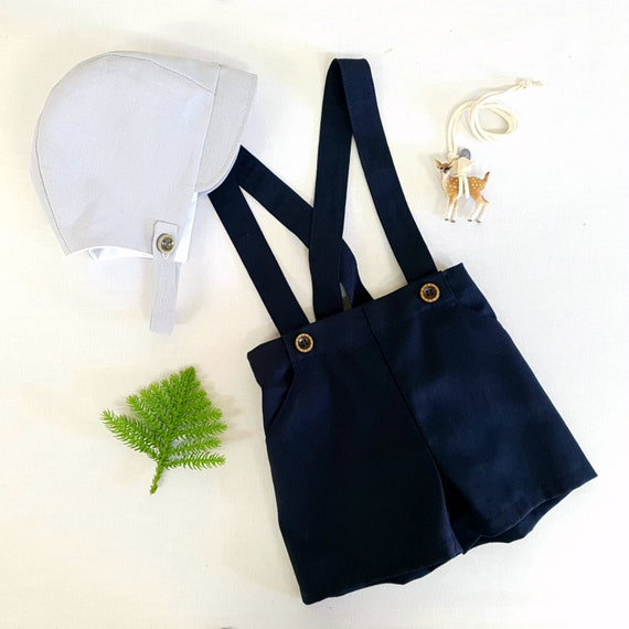 Boys Pants With Suspenders Braces Navy Blue Linen Shorts