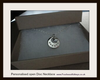Personalised open Disc necklace