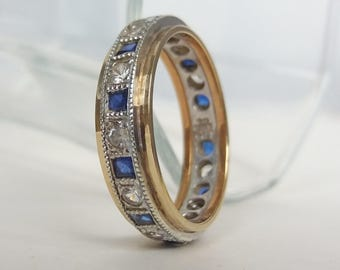9ct Blue Sapphire And Paste Eternity Ring Vintage Engagement Ring White Yellow Gold Engagement UK