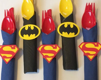 SuperHero wrapped utensils with napkin ring/batman/superman/ superhero