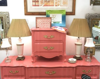 Coral Hi Gloss lacquer- French provincial dresser and nightstand