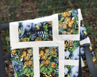 Jungle Animals Baby Quilts Elephants Monkey Tiger Giraffe Zebra Parrots Unfinished Baby Quilt Gorilla Zoo Animals Baby Quilt Baby Shower