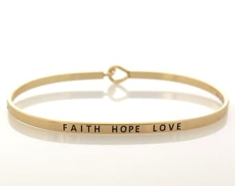 FAITH HOPE LOVE Gold Bracelet, Faith Bracelet, Inspirational Bracelet, Gold Bracelet, Cuff Bracelet, Christian Gift