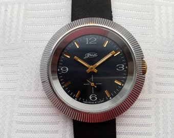 ZIM watch,(Pobeda),Vintage Soviet Men's Watch ZIM, mechanical watch, black dial,