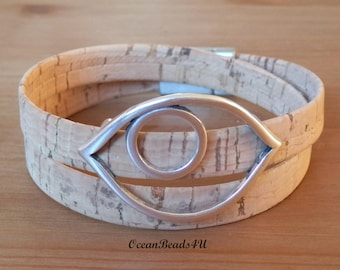 Natural Portuguese Cork with Eye, Unisex Portuguese Cork Bracelet, Kork Armband, Vegan Bracelet
