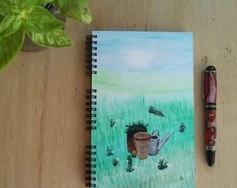 Hand Painted Spiral Journal; Wire Bound Blank Notebook; Writing Journal, Small Sketchbook, Unique Gift; Garden Joy