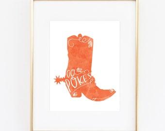 Go Pokes OSU Cowboys Print (8x10)