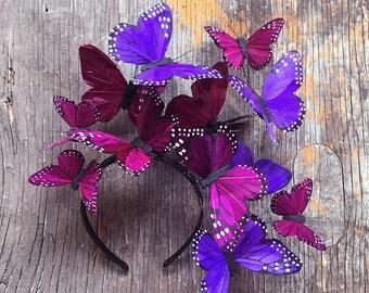 Violet Cosmos Butterfly Fascinator Headdress Headpiece Headband