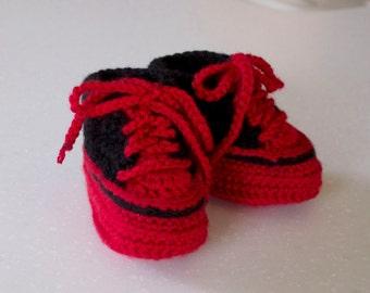 Baby Crochet High Top Shoe Bootie, Red & Black, 3-6 Months