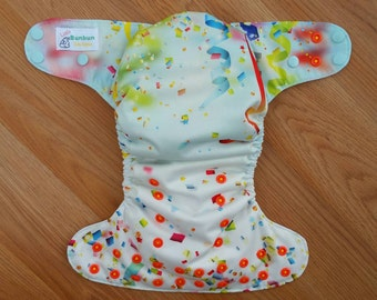Confetti cloth diaper - AIO cloth diaper - onesize cloth diaper - hemp bamboo diaper - party diaper - 1st birthday - wahm diaper