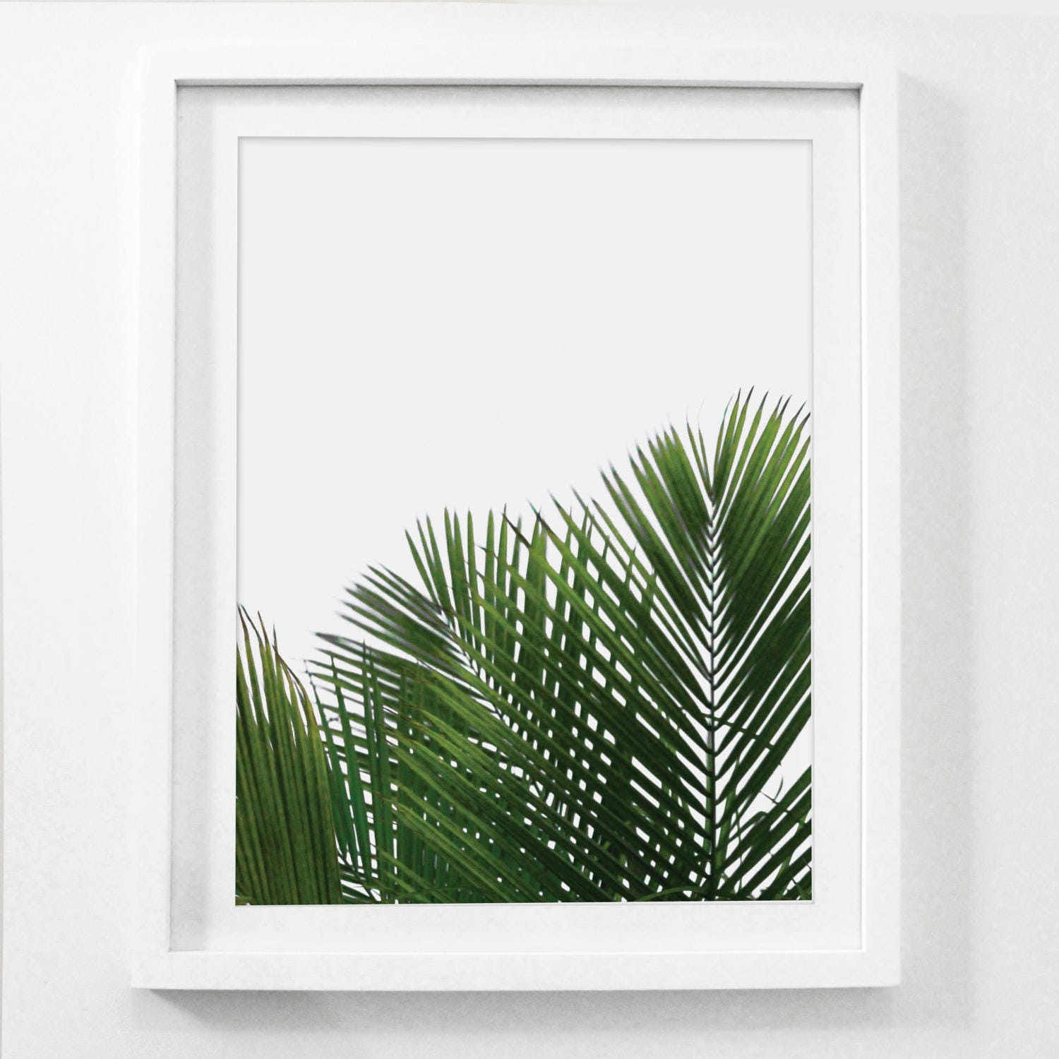 Palm leaf wall art palm frond art framed botanical prints for Wall artwork