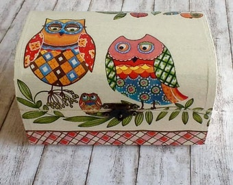 Decoupage Owl Box, Gift for Kids, Jewelry Box, Keepsakes Box, Wooden Box, Small Box, Handmade Gifts, Handmade Box,