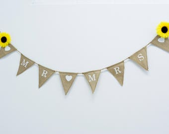 MR and Mrs Burlap Banner Rustic Wedding Banner Photo prop reception Burlap Wedding Banner
