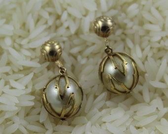 Goldtone & Caged Faux Pearl Screw Back Earrings - EA463