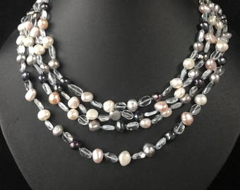 Vintage 14ct Gold Freshwater Pearl Multistrand necklace - 849A
