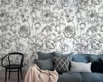 Vintage Flowers - Customizable Wallpaper - Adhesive Wallpaper - Removable Wallpaper - Wall Sticker - Colorful Pattern
