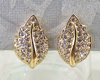Dior Small Earrings Crystal Pave Leaf, Gold Tone Clip Backs, Designer Christian Dior, Gift for Her She'll Love