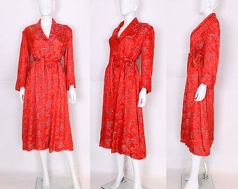 1950s Chinese Style Red Silk Dressing Gown