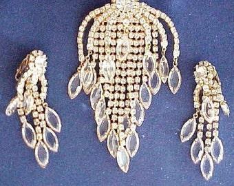 Vintage Rhinestone Brooch and Earrings, Art Deco Rhinestone Brooch, Art Deco Rhinestone Chandelier Earrings, Demi Parure Brooch and Earrings