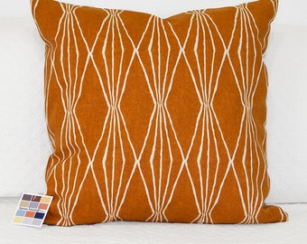 Orange Pillow Cover with a Geometric Design in Natural, Hand Cut Shapes in Orange Crush Pillow Cover with Invisible Zipper