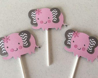 Pink Elephant Baby Shower Cupcake Toppers, Baby Shower Cupcake Toppers, Elephant Theme Baby Shower Cupcake Toppers, Set of 12  Toppers