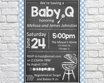 Printable Baby BBQ Invitation, Baby Q invite, Backyard BBQ Invitation, PRINTABLE Barbeque Invitation, Summer Invitation, Baby Shower - Blue