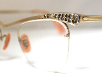 SOLD in store-06/12/17-Bausch & Lomb Horn Rimmed Eyeglasses// Vintage 1950's 1960's // Gold Filled // #