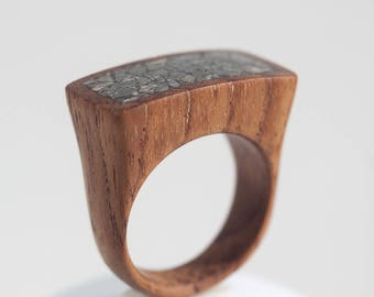 Wood Ring, Wooden Ring, Crashed Stone Inlay, Wood Jewelry, One of a Kind Ring, Unique Ring, Natural jewelry