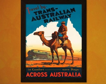 FINE ART REPRODUCTION Australian Travel Print Vintage Travel Poster Australia Poster Australian Print  Travel  Art
