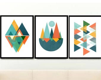 Geometric Wall Prints, Triptych, Set of 3 Prints, Mid Century Modern, Abstract Art Prints, Scandinavian Modern, Giclee prints, Wall Art