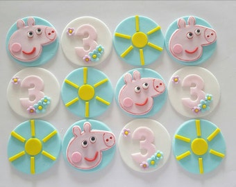 12 x  handmade fondant  peppa pig cupcake Toppers