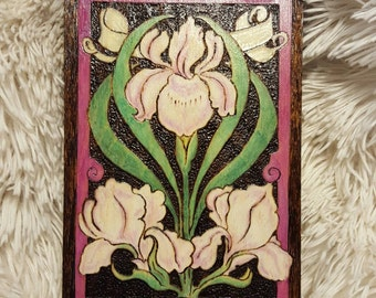 Orchid, Fancy - Hand Burned Wooden Box