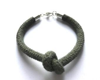 Node heart bracelet mini cord khaki