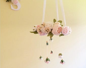 Floral chandelier- baby mobile- flower mobile- nursery mobile- flower chandelier- floral nursery decor- crib mobile- cot mobile- girl mobile