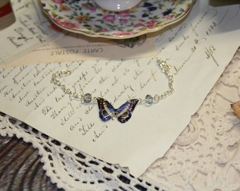 Blue / Black Butterfly Resin Bracelet