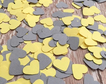 Heart Confetti, Table decoration, Yellow Grey Paper Heart Confetti, gender reveal baby shower decorations, confetti hearts, invitation heart