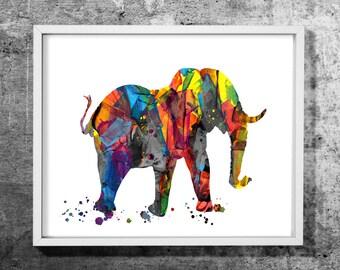 Elephant 04 illustration,  Acrylic art print, Acrylic painting, Decorative art, Colorful wall decor, INSTANT DOWNLOAD