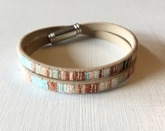 Leather Wrap bracelet with magnetic closure