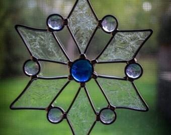 Medium Stained Glass Snowflake Suncatcher