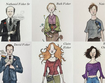 Six Feet Under Character Prints in Watercolor