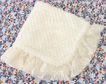 Ivory Minky with Ivory Lace Ruffle Minky Baby Girl Lovie | Ivory, Lace, Vintage, Soft,  Minky Baby Girl Security Blanket