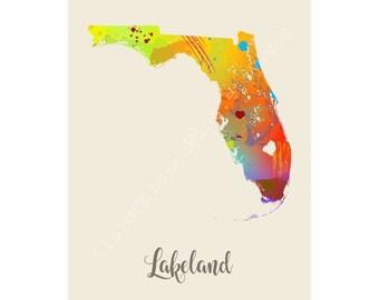 Lakeland Florida Lakeland Map Lakeland Print Lakeland Poster Lakeland Art Lakeland Gift Lakeland Wall Decor