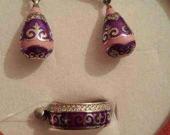 Kazakh handmade high quality silver jewelry set.